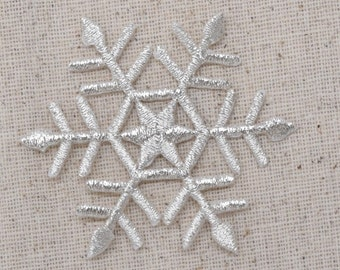 Large Snowflake - SILVER or WHITE - Iron on Applique - Embroidered Patch - 695707