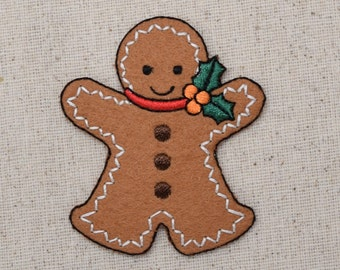 Christmas - Gingerbread Man with Holly - LARGE - Iron on Applique - Embroidered Patch - 1126224B