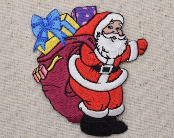 Christmas - Santa Clause - Waving - Maroon Bag and Gifts - Iron on Applique - Embroidered Patch - 795964-B