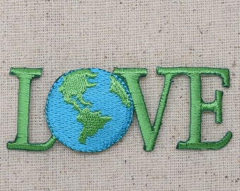 Planet Earth - LOVE - Iron on Applique - Embroidered Patch - 694718-A