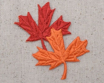 Tree Leaf - Fall - Leaves - Red/Orange - Embroidered Patch - Iron on Applique - 695658A