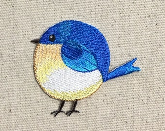 Chubby Bluebird - Blue Bird - Spring/Nature - Iron on Applique/Embroidered Patch - 697354-A
