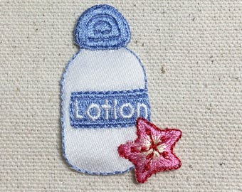 Lotion Bottle - White/Blue - Pink Starfish - Beach - Suntan - Iron on Applique - Embroidered Patch - 154997-A