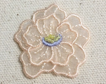 Peach Flower - Layered Organza - Beads - Sheer - Iron on Applique - Embroidered Patch - 153647A