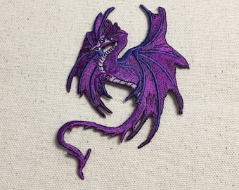 Fantasy Dragon - Purple - Embroidered Patch - Iron on Applique - 697181-A