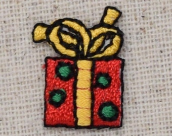 Mini Christmas Gift - Small Red Package Present - Embroidered Patch - Iron on Applique - 155191