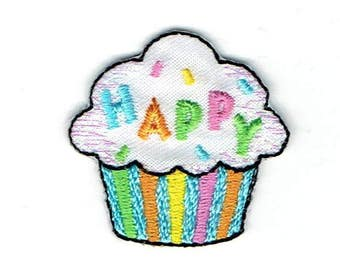 Happy Cupcake - Iron on Applique - Embroidered Patch - 1518602-A