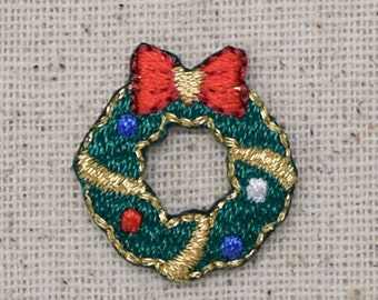 Mini- Christmas Wreath - Red Bow - Decorative Ball Ornaments - Iron on Applique - Embroidered Patch - 1516843A