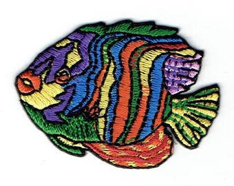 Tropical Fish - Yellow/Orange/Green/Purple - Angelfish- Iron on Applique - Embroidered Patch - 696400-A