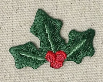 Christmas - Holly - Red Berries - Iron on Applique - Embroidered Patch - 697271-A