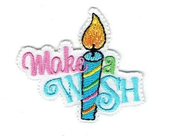 Make a Wish - Birthday Candle - Iron on Applique - Embroidered Patch - 1518600-A