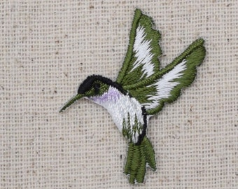 Hummingbird - Small - Lavender Throat - Facing Left - Iron on Applique - Embroidered Patch - 693983-EL