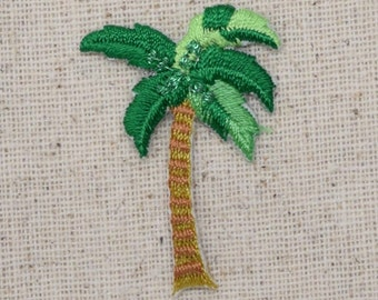 Small - Tropical Palm Tree - Shimmery - Iron on Applique - Embroidered Patch - 692442-A