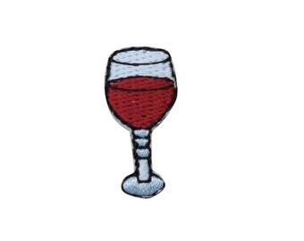 Embroidered Mini White Wine Chardonnay Glass Drink Patch Applique Iron On Sew On
