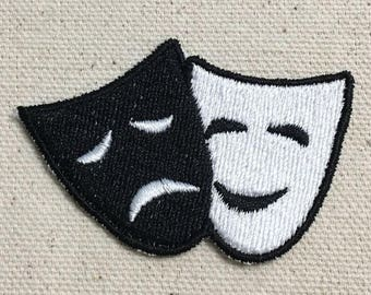 Comedy/Tragedy Mask - Theater - Black/White - Iron on Applique - Embroidered Patch - 697333-A