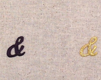 Ampersand - And Sign - BLACK or GOLD Color Choice - Iron on Applique - Embroidered Patch - 695782