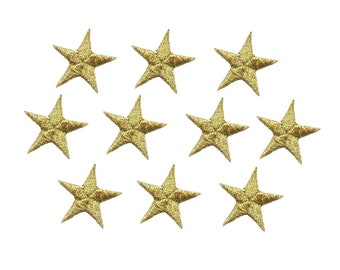 "Ten 1 1//4/"" Light Yellow Star Embroidered Applique 150033"
