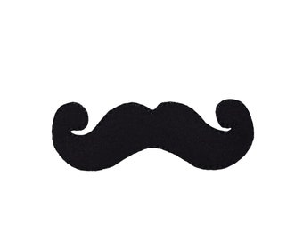 Moustache Iron On Patch Sew On Badge White Embroidered Monopoly Mustache Crafts