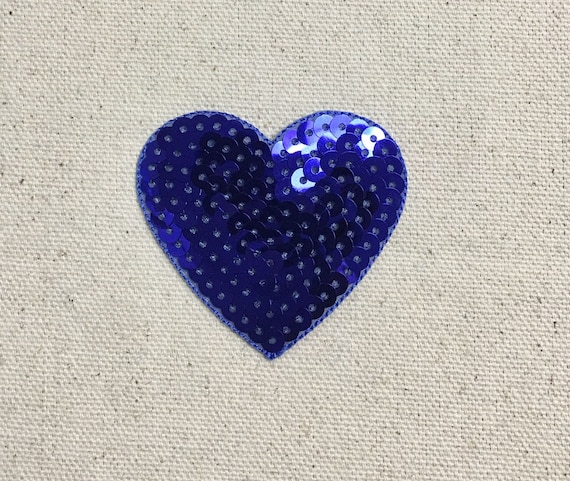 X-Large Silver Sequin Heart Iron on Applique//Embroidered Patch