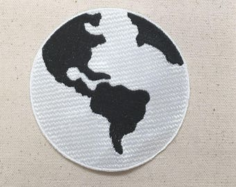 """4"""" - Planet Earth - Black/White - Iron on Applique - Embroidered Patch - Ecology -  WAC12012016-01"""