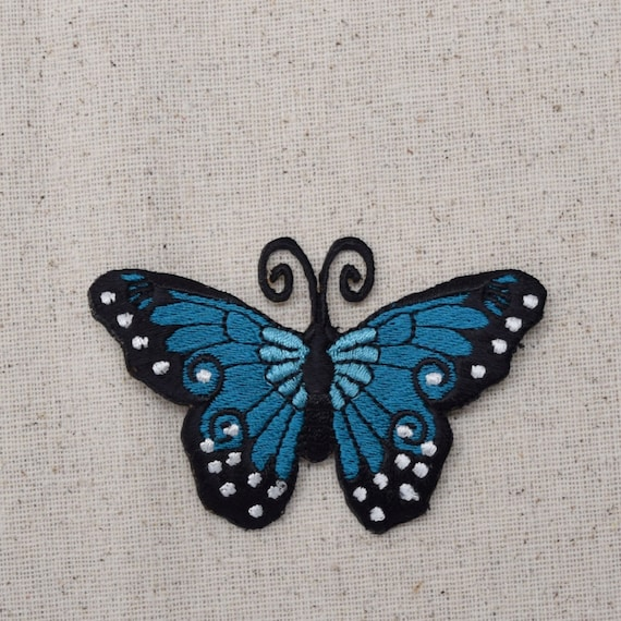 Blue Teal Iron on and Black Butterfly Applique Patch