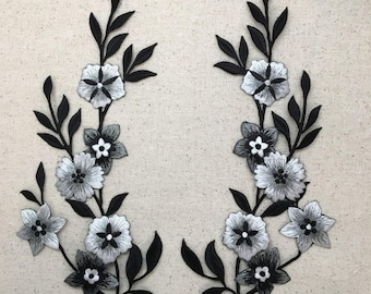 Large Flowers - Black/White/Silver - Embroidered Iron on Patch