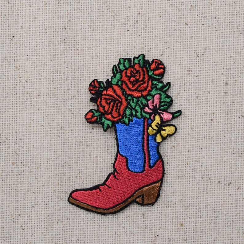 Western Cowboy Boot and Flowers - Embroidered Patch - Iron on Applique -  796027A