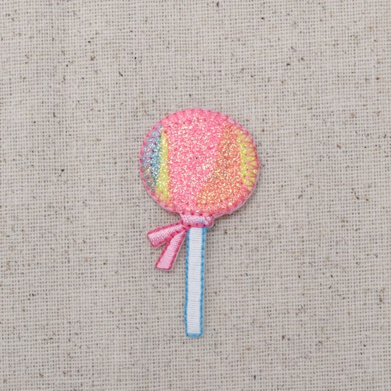Sparkle//Shimmery Sweets//Treats Iron on Applique//Embroidered Patch Pink Candy