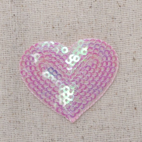 """Valentine Iron on Applique//Embroidered Patch Large Red 2/"""" Sequin Heart"""