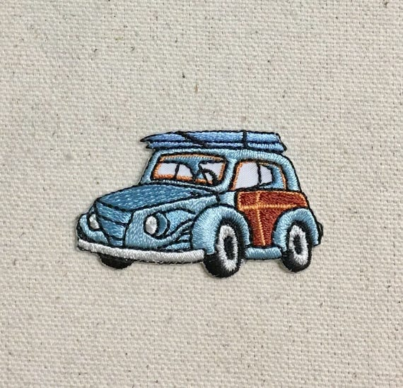 Iron on Woodie Station Wagon with Surfboards Applique Patch