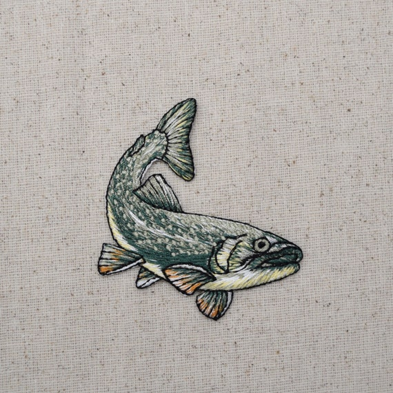 Rainbow Trout//Natural Fish Facing Left Iron on Applique//Embroidered Patch