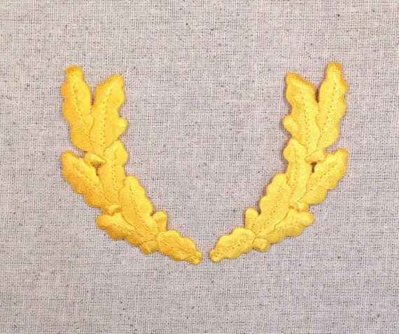 Military Uniform Scrambled Eggs White Iron on Applique Embroidered Patch