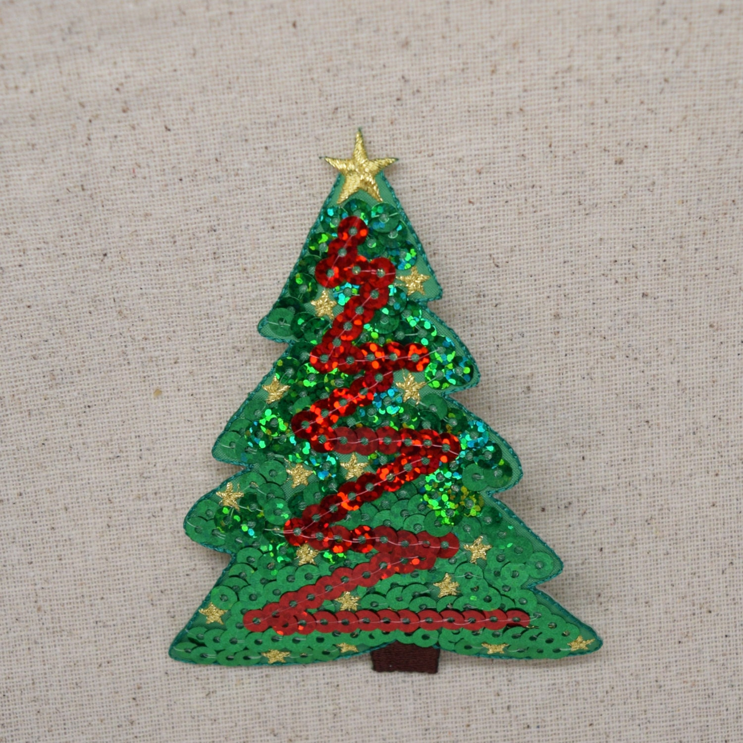 Christmas Tree Patch: Christmas Tree Green And Red Sequin Embroidered Patch