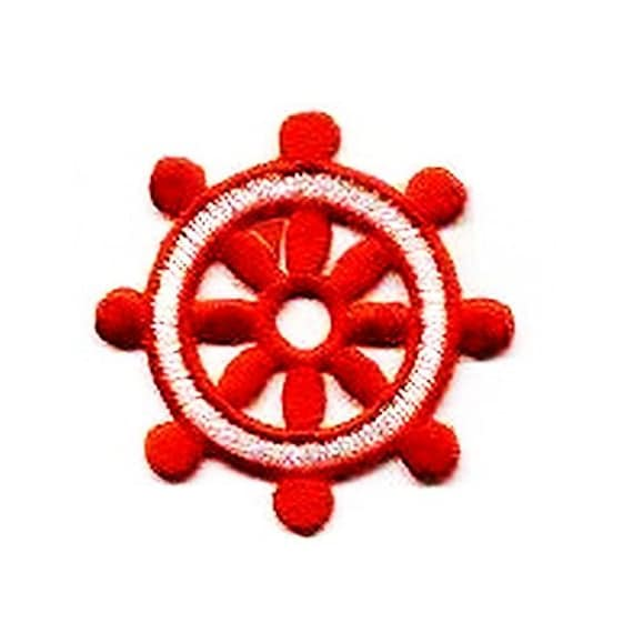 Iron On Applique Embroidered Patch Red and White Nautical Boat Ships Wheel