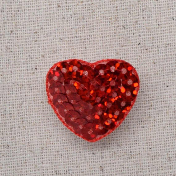Iron On Embroidered Applique Patch Small Red Open Heart 1/""