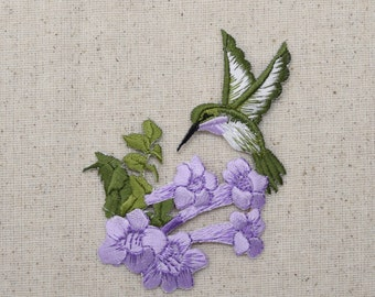 Large - Purple Hummingbird - Lavender Flowers - Iron on Applique - Embroidered Patch - 694553-AL