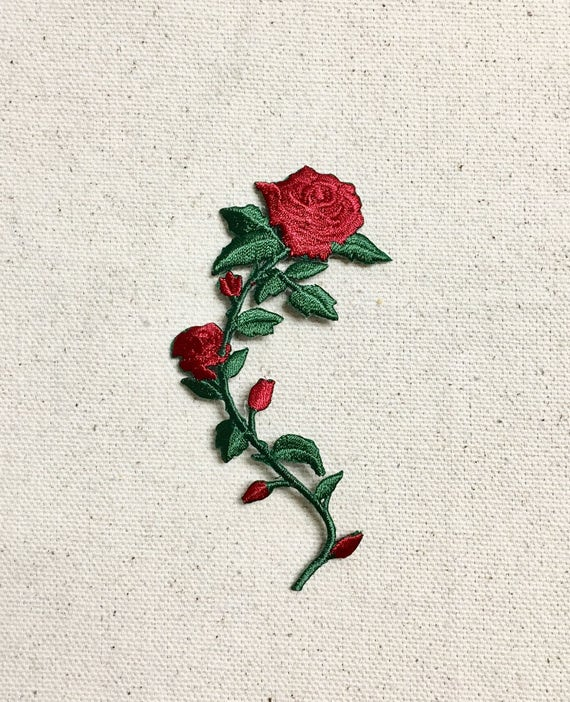 Set 2 Small 3-1//2 Red Rose Stem//Flower Iron on Applique//Embroidered Patch