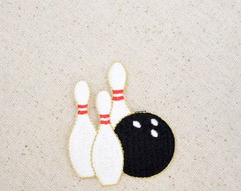 Bowling Ball - Three Pins - Iron on Applique - Embroidered Patch - 240292B