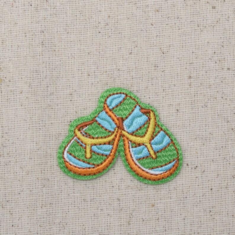 3a21797be5f Flip Flops Summer Sandals Green Yellow Blue Iron on