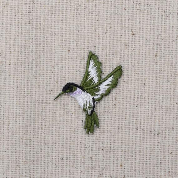 HUMMINGBIRD W//FLOWER LAVENDER iron on patch//applique