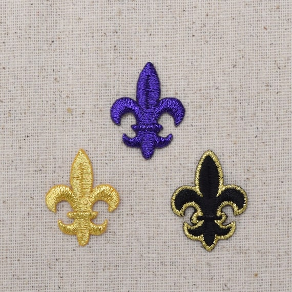 LARGE Gold Fleur De Lis Saints//Religious Iron on Applique//Embroidered Patch