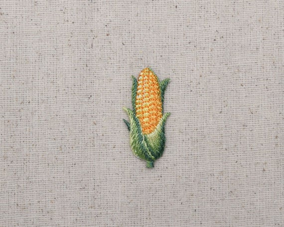 Sweet Corn on the Cob Patch Embroidered Iron Sew On Sweetcorn Vegetable Badge