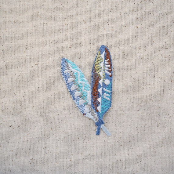 Southwestern Colorful Feathers Fully Embroidered Iron On Patch Feathers