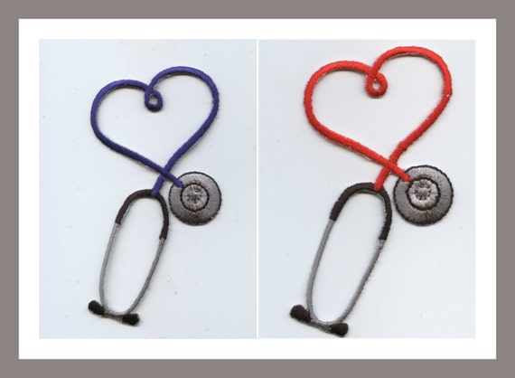 IRON ON PATCH//APPLIQUE Embroidered Light Blue Stethoscope CRAFT PROJECTS