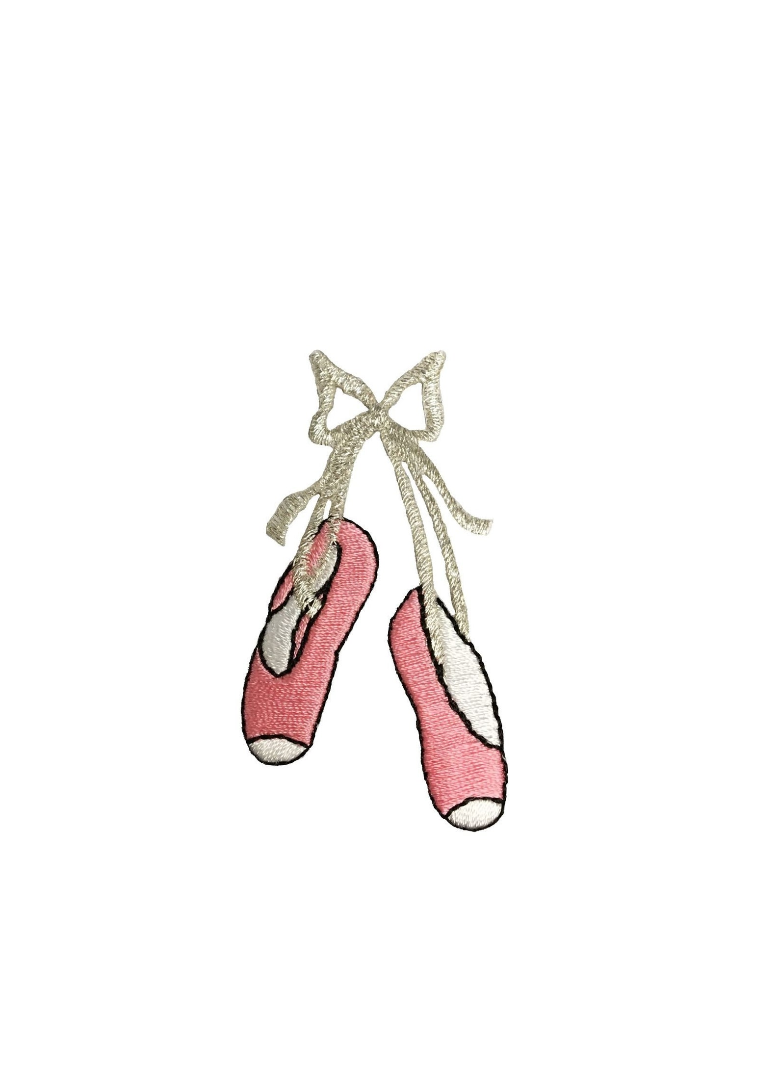 large ballet slippers - pink - silver bow - iron on applique - embroidered patch