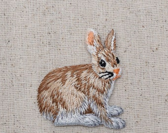 Natural Bunny Rabbit - Hare - Iron on Applique - Embroidered Patch - 155461A