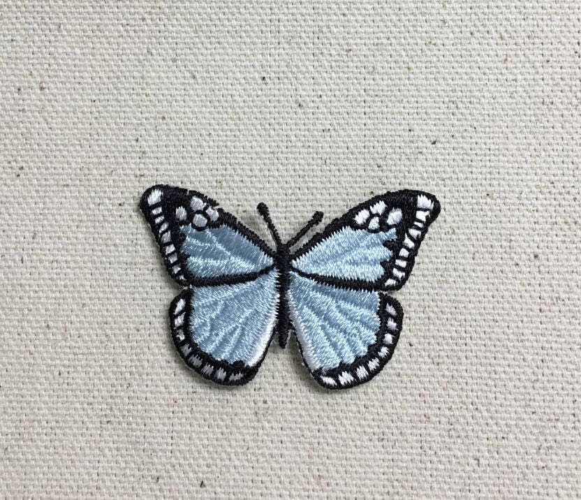 5 x Butterfly Patch Small Turquoise Sparkle Iron On Embroidered Applique  1 across x 58