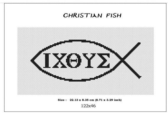 Christian Fish Symbol Monochromecross Stitch Pattern Pdf Etsy