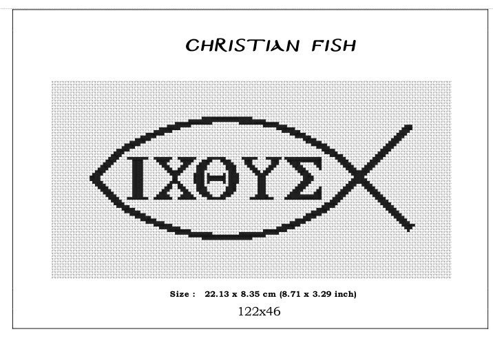 Christian Fish Symbol Monochromecross Stitch Pattern Pdf Counted