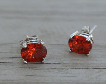 Ruby Earrings, July Birthstone, Gemstone, Silver Jewelry, Gift for her